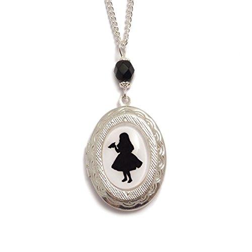 LunarraStar Damen Alice im Wunderland Drink Me Flasche Silhouette Medaillon Anhänger-Halskette aus Versilbert mit Oval Kamee Miniatur