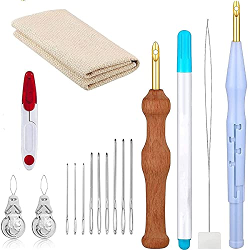 Sweetone kit bordado, 17 piezas Kit de bordado de aguja de perforación, Aguja Magica para Bordar, Kit de Herramienta de Bordado Punch Needle Kit Agujas de Punzón Embroidery Kit