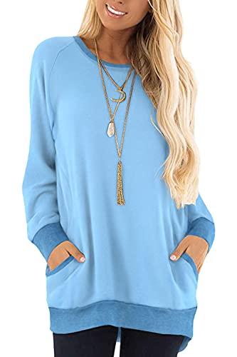 Yidarton Damen Sweatshirt Casual Farbblock Langarmshirt Rundhals Pullover Oberteile (252-Hellblau, X-Large)