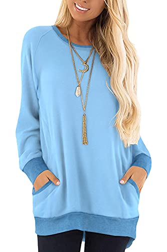 Women's Casual Long Sleeve Color Block Crew neck T Shirt Sweatshirt...