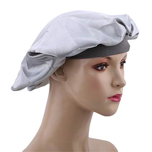 Kaned Chapeau de Sommeil élastique Haute Bonnet de Douche Polyvalent Bonnet Plat Bonnet à Large Bord Coiffe de Cheveux, Argent