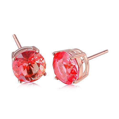 Orecchini Orecchini Per Le Donne Orecchini In Oro Rosa A Quattro Griffe Con Diamanti Rotondi In Tormalina Rossa E Verde, Orecchini Da Uomo E Da Donna