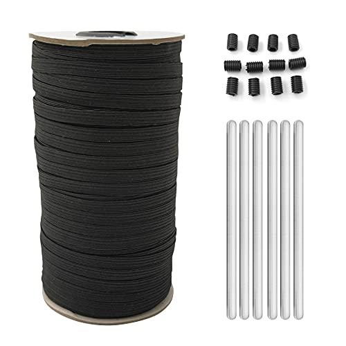BANGBANGSING Wide Elastic Band String 1/4 Inch for DIY Mask Set Nose Bridge Strips Adjustable Buckles