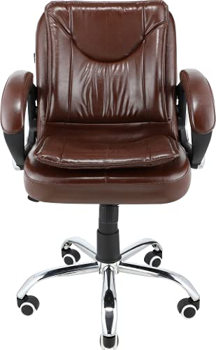 Oakcraft Medium Back Reclining Leatheratte Office Chair, Desk Chair/Work from Home (Brown)