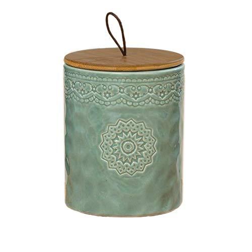 Home Collection Steingut Vorratsdose mit Ornamenten H17cm D13cm mit Bambus Deckel und Silikondichtung, luftdicht (hellgrün)