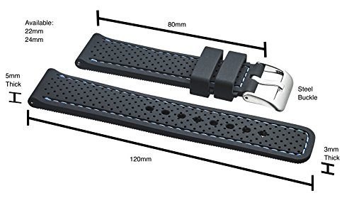 Alpine Premium Quality Waterproof Silicone Watch Band Strap with Quick Release – Soft Rubber Watch Band, Assorted Colors – 20mm, 22mm, 24mm