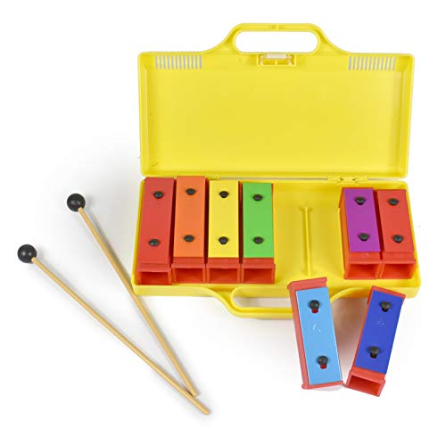 ENNBOM 8 Notes Chromatic Xylophone Glockenspiel Resonator Bells with Yellow Case