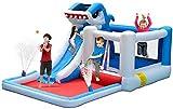 QULONG Castillo Hinchable de Tiburones para niños - Centro de Actividades de tobogán de Piscina de Agua de Jumper House con tobogán de Agua de soplador Trampolín Pared de Escalada y área de Piscina