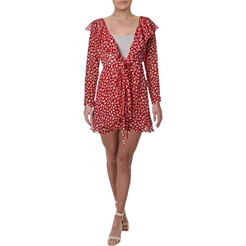 Free People Womens Frenchie Casual V-Neck Wrap Dress Red S