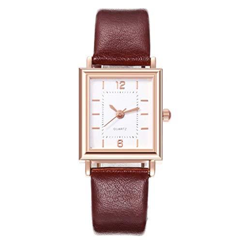 Relojes Para Mujer Relojes de mujer Cinturón de cuero vintage Rectángulo Dial Reloj de dial Semana simple Moda Femenina Reloj de cuarzo Relojes Decorativos Casuales Para Niñas Damas ( Color : Brown )