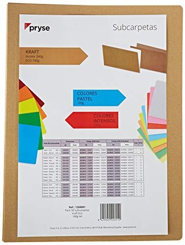 Pryse 1260001 - Subcarpeta, color kraft, A4, pack con 50 unidades