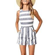 Avanova Women Striped Jumpsuit Sleeveless Short Pants Casual Printed Romper with Pockets,Blue S