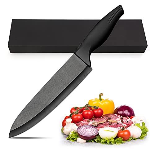 LinStyle Cuchillos Cocina, Cuchillo de Cerámica Negro, Multifunción Cuchillos Chef, Cuchillos Profesionales de Cocina para Cortar Carne Verduras Fruta Pan