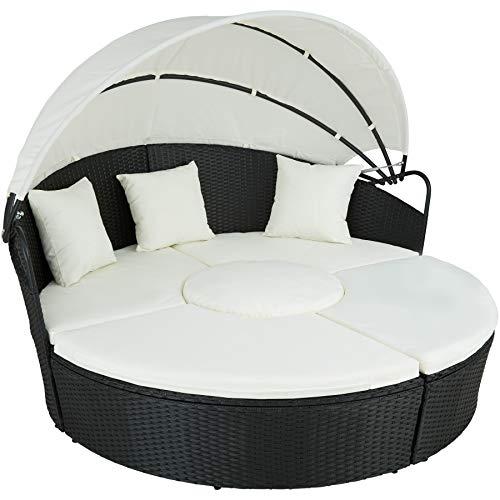 Photo of TecTake 800718 Rattan Sun Island, Collapsible Sun Shade, Versatile, UV-Resistant, incl.Cushions (Black | No. 403280)