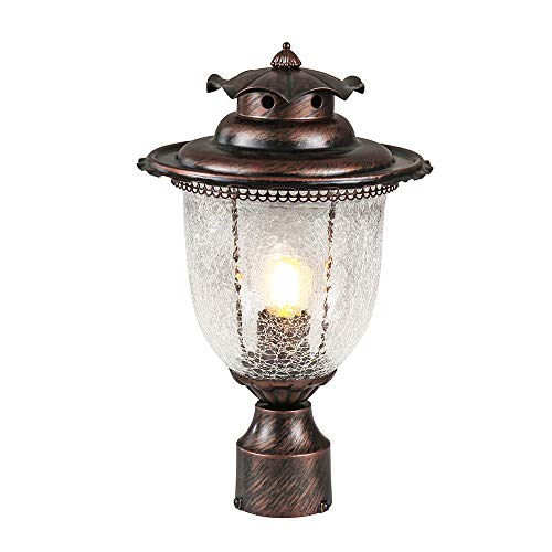 Maxax Outdoor Post Light, Exterior Post Lamp Fixture for Porch,Yard,Garden, Bronze Finish with Crackle Glass