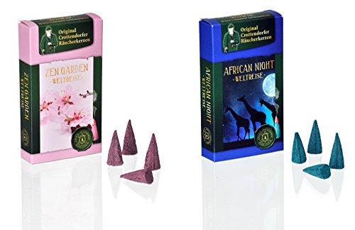 Crottendorfer - Coni di incenso originali del mondo, misura M, set da 2 pezzi, 40 pezzi, fragranza: Zen Garden + African Night - Made in Germany