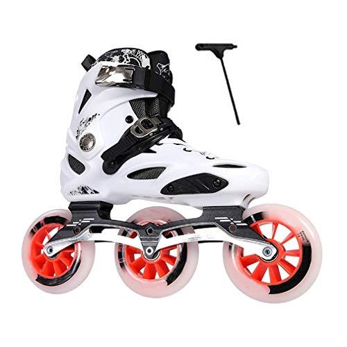 Sljj Unisex 110 Mm Räder Speed Inline Skates , Erwachsener Der Frauen Rennen Der Rochen Weiß Schwarz (Color : White, Size : 37 EU)