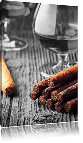 Whisky en Cubaanse sigarenFoto Canvas | Maat: 120x80 cm | Wanddecoraties | Kunstdruk | Volledig gemonteerd