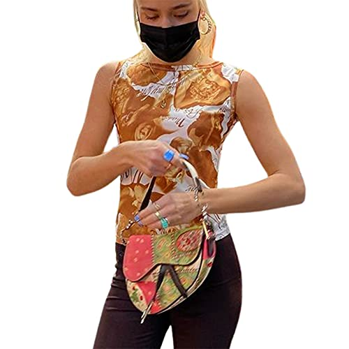Chaleco para mujer E-Girl Y2K con estampado de teñido anudado, vintage, sin mangas, gráfico de verano, estilo Hip Hop Clubwear
