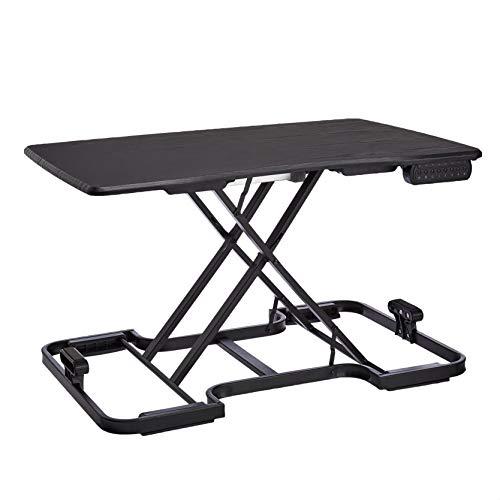 Amazon Basics 5-Level Adjustable/Portable Electronic Computer Workstation, Standing Desk Converter, Wood Surface - Black