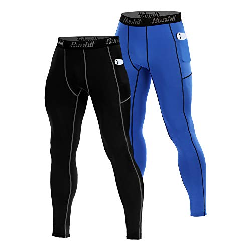 Runhit 2 Pack Compression Pants Men with Pockets Running Workout Tights Leggings Baselayer