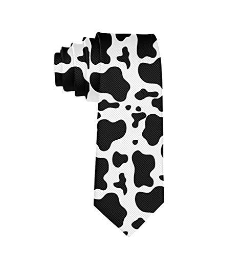Crazy Dog Live Here - Corbata de corbata para traje universitario Impresión de lunares de vaca con leche blanca y negra. Talla única