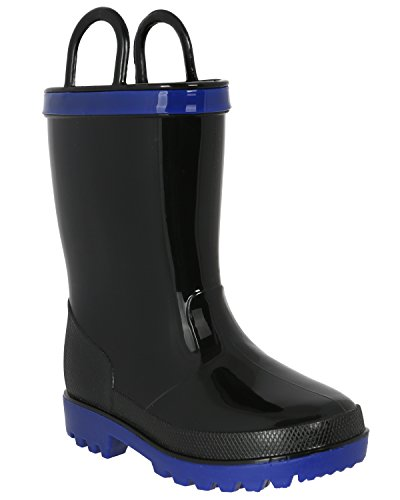 Capelli New York Toddler Boys Shiny Solid Colored Jelly Rain Boot With Handles Cool Black 4/5