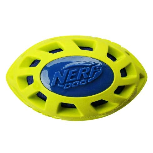 Nerf Dog 6in Foam TPR/Exo Elite Squeak Crunch Football – Blue/Green