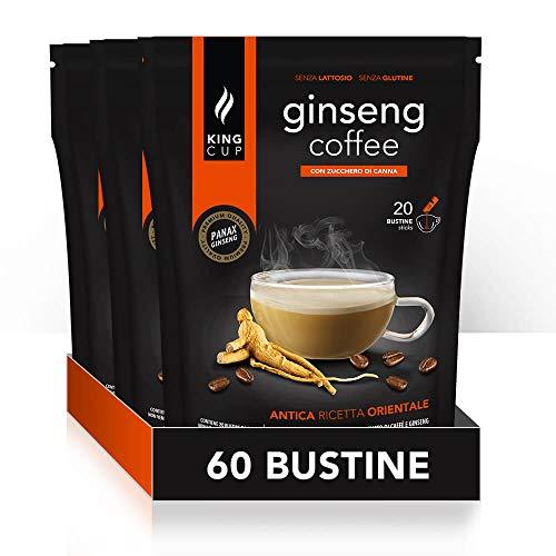 King Cup - 3 Confezioni da 20 Bustine Solubili di Ginseng con Zucchero di Canna, 60 Stick da 20 Gr per Bevanda al Gusto di Ginseng da Aggiungere in Acqua Calda, Senza Glutine e Lattosio