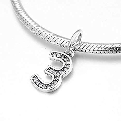 Zilveren Kralen Bedels,Mode 925 Sterling Zilver Nummer Negen Tot Nul Cijfer 0-9 Hangers Kralen Passen Originele Armband Sieraden Maken