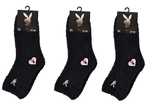 Playboy Damen/Kinder Kuschelsocken, Bettsocken in 37-42, Schwarz, Weiß, Pink, Rosa (6 Paar Schwarz)