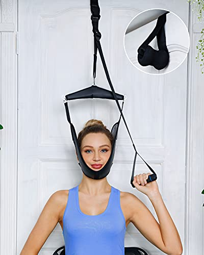 comness Cervical Neck Traction Device Over Door for Home Use, Portable Neck Stretcher Hammock for Neck Pain Relief, Physical Therapy AIDS for Neck Decompressor.