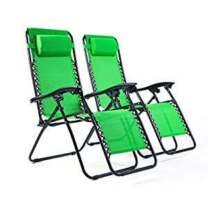 Bravich Weatherproof Set of 2 Zero Gravity Chairs - Green