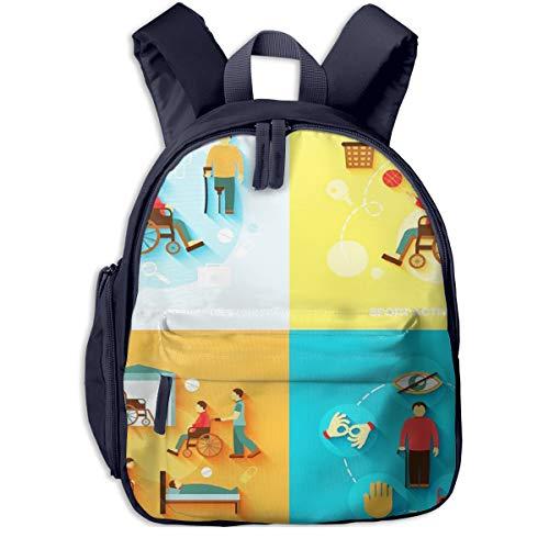Kinderrucksack Rollstuhl Behinderte Wohnung, Schulrucksack für Mädchen und Jungen Schultasche Schulranzen Teenager Backpack Daypack Freizeitrucksack Kinder Rucksack