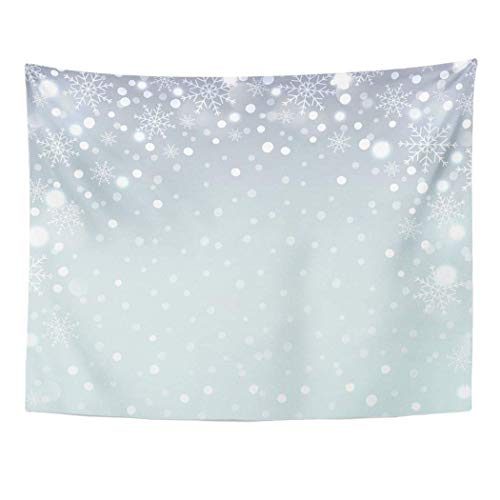 Elinna Decor Wall Tapestry Snow Holiday Snowflake Pattern Christmas Falling Snowflakes Aqua Badge Blaze 80 X 60 Inches Wall Hanging Picnic For Bedroom Living Room Dorm 80x60in(150x200in)
