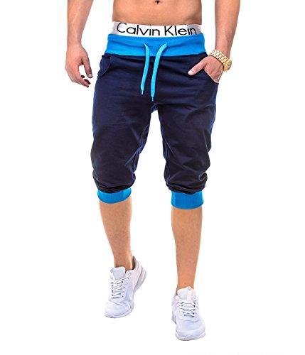 BetterStylz Yuba Basic Kurze Jogging-Hose Sweat-Shorts Bermuda Kurze Sporthose Fitness Hose div. Farben (S-XL) (M, Dunkel Blau/Türkis)