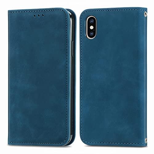Teléfono Flip Funda Shell Flip Wallet Funda para iPhone XS MAX (6.5'), Cubierta de Cuero de Cierre magnético con Portada de Soporte de Tarjeta Cubierta de protección Funda Protectora (Color : Blue)