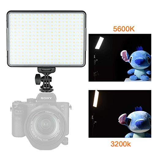 SUPON W500 Ultra Bright Dimmable Camera Panel Light,3300K-5600K Bi-Color LED Video Light Panel for Canon, Nikon, Pentax, Panasonic, Sony, Samsung, Olympus and All DSLR Cmeras(Battery Not Included)