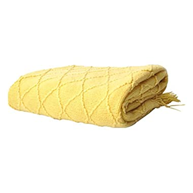 battilo Knit Diamond Pattern Decorative Throw Blanket, 50  by 60 , Yellow