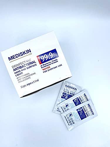 Mediskin Toallitas desinfectante de manos con alcohol etilico Biocida Caja de 50 unds