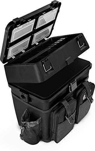normani Sitzkiepe Angelobox Angel-Sitzbox Angelrucksack Angeltasche Angelkoffer Angler-Gerätekasten mit 4 Tackle Boxen Farbe Schwarz
