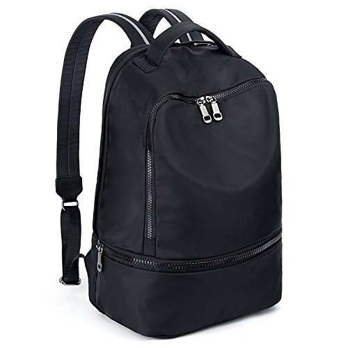 UTO Fashion Backpack Sport Bag Reflective Shoulder Straps Waterproof Compartment Store Shoes Wet Diaper Black
