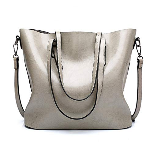 Pahajim fashion Women PU Leather Bucket Bag business Purses Waterproof Handbags Tote Top Handle Satchel Shoulder with Zipper for Ladies(Gray)