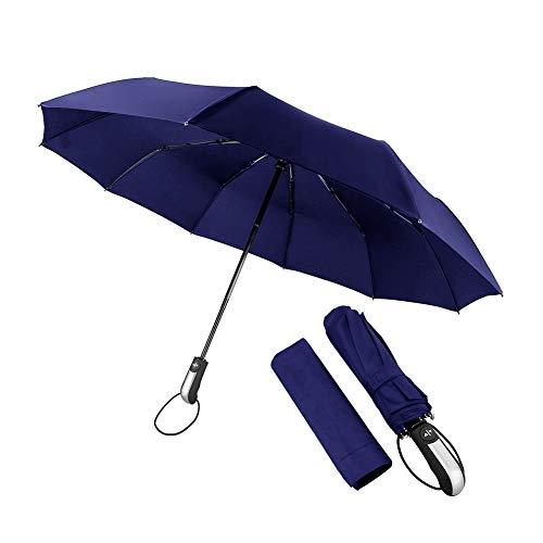 Salandens Paraguas Plegable, paraguas con 10 varillas, Sombrilla para protección UV, cierre automático, portátil,46 Pulgadas(Azul)