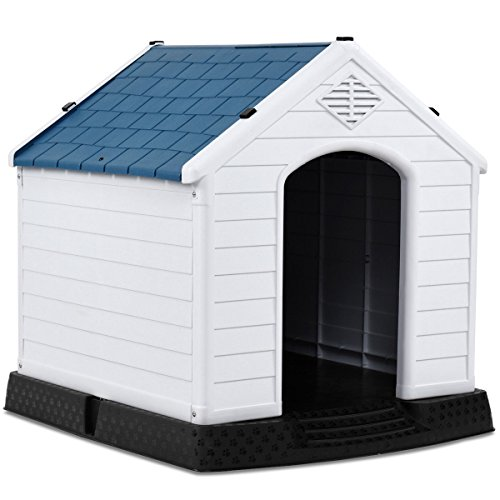 Giantex Plastic Dog House for Small Medium Dogs, Waterproof Ventilate Pet Kennel with Air Vents and Elevated Floor, Indoor Outdoor Use Pet Dog House