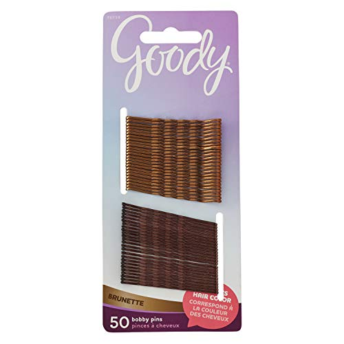 Goody Womens Hair Colour Collection Metallic Finish Hair Bobby Pin, Brunette, 50 CT