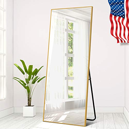 """Elevens Metal Aluminum Alloy Frame Full Length Floor Mirror 65""""x22"""" Large Rectangle Body Wall Mirror, Standing Hanging or Leaning Against Wall, Thin Frame Mirror - Gold"""