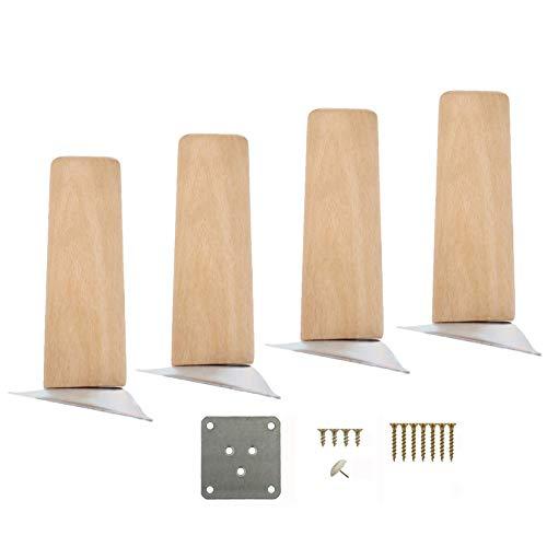 Sofabeine X4, Holzmöbelbein, Für Bett- / Badezimmerschrank/Couchtisch/Schrank, Stützbein, Tischfüße, Feuchtigkeitsbeständig Und Verschleißfest, Mit Montageplatte Und Schrauben, Gerade, 5 cm