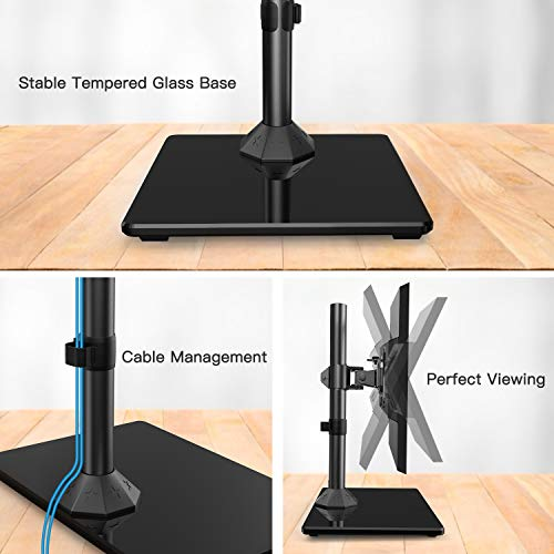 Free-Standing Desk Stand Riser for 13-32 inch Screen with Swivel HUANUO Swivel Universal Single Monitor Stand Height Adjustable Rotation Hold up to 17.6lbs