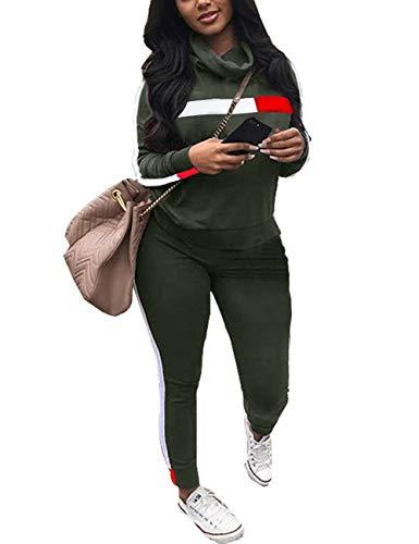 Akmipoem Damen Trainingsanzug Wasserfallkragen Langarm Pullover Top und Seitenstreifen Hosen Set Casual 2 Stück Outfit Sportanzug XXL Armee Grün